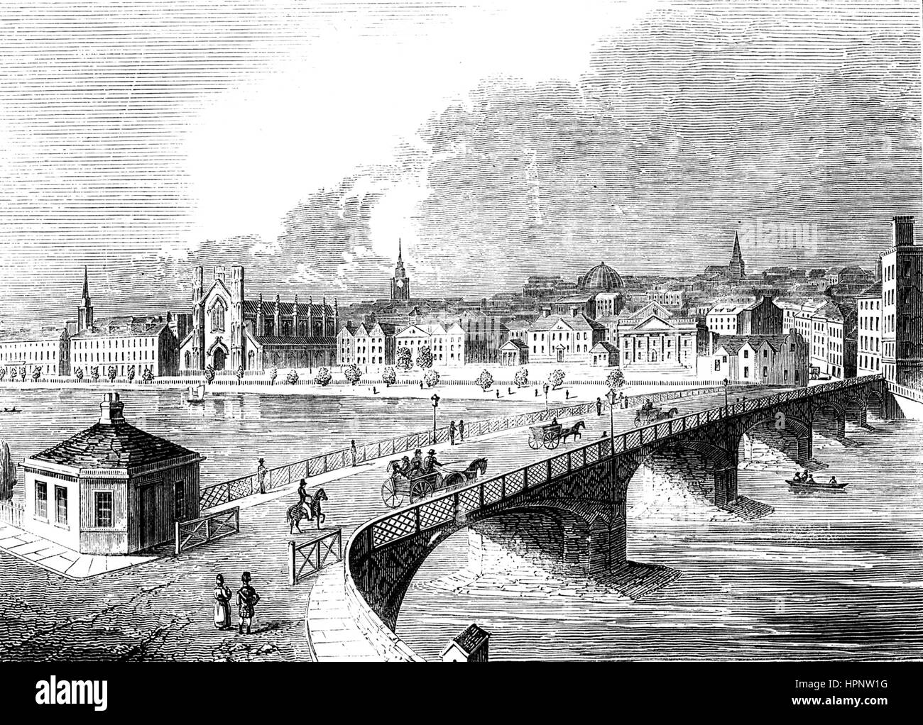 STOCKWELL BRIDGE over the River Clyde, Glasgow, about 1820. Demolished in 1847 - Stock Image
