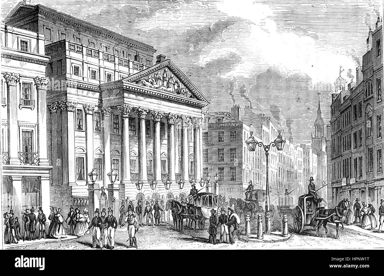 MANSION HOUSE, London, about 1820 - Stock Image
