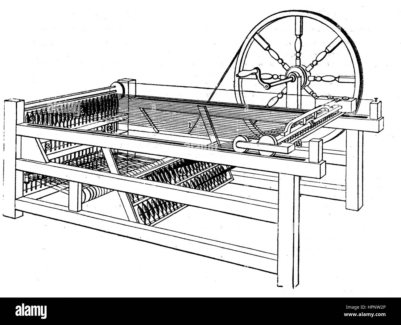 JAMES HARGREAVES (1720-1778) English inventor best known for his Spinning Jenny. Diagram of the improved version - Stock Image