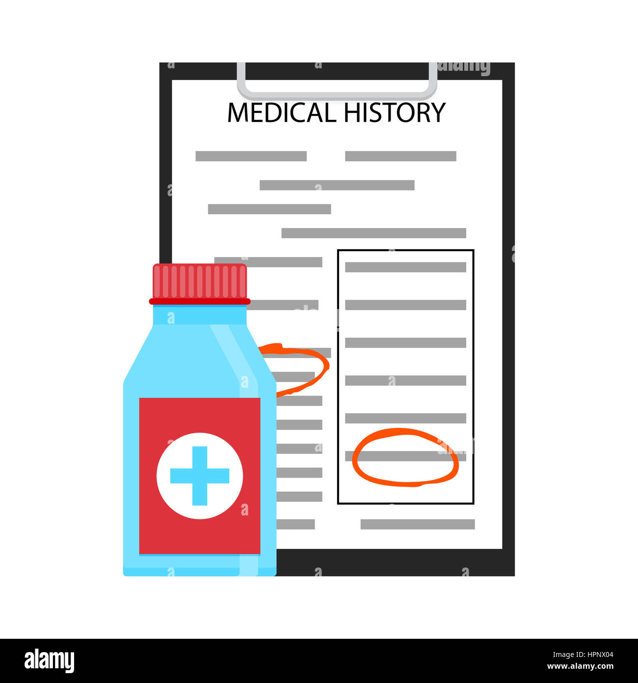 treatment by medical history prescription and receipt vector illustration