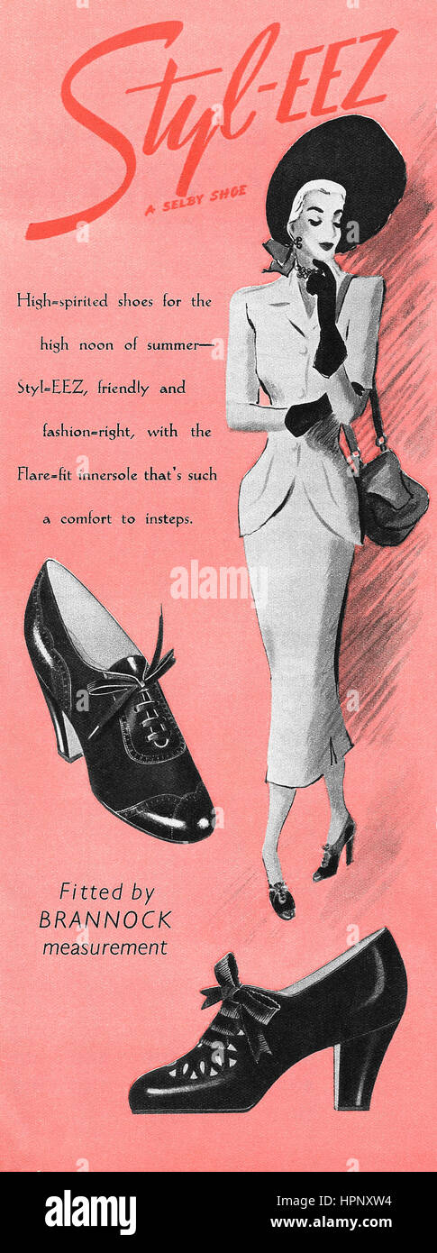 1949 British advertisement for Selby Styl-Eez shoes. - Stock Image