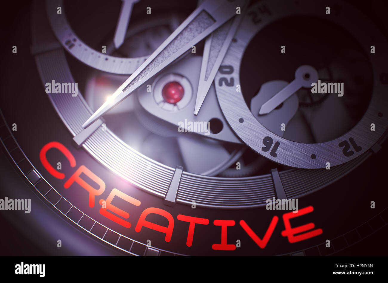 Creative on Automatic Wristwatch Mechanism. 3D. - Stock Image