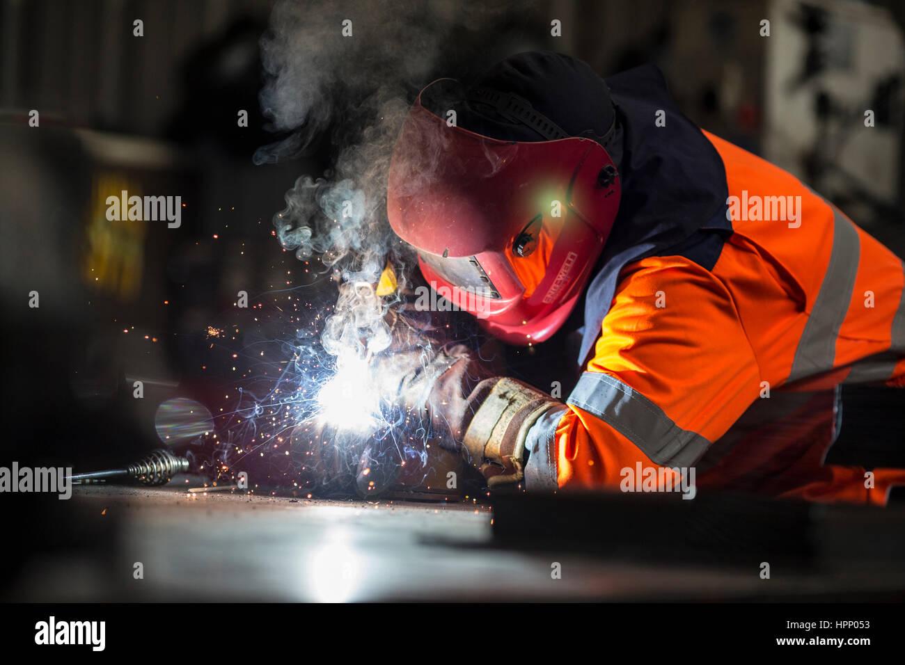 Apprentice Welder at Work at British Steel - Stock Image