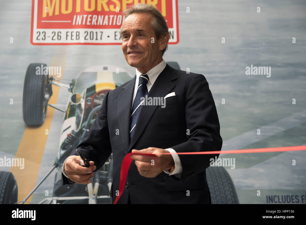 London, UK. 23rd Feb, 2017. Former Les Mans champion Jacky Icks, officially opens the 2017 London Classic Car Show - Stock Image