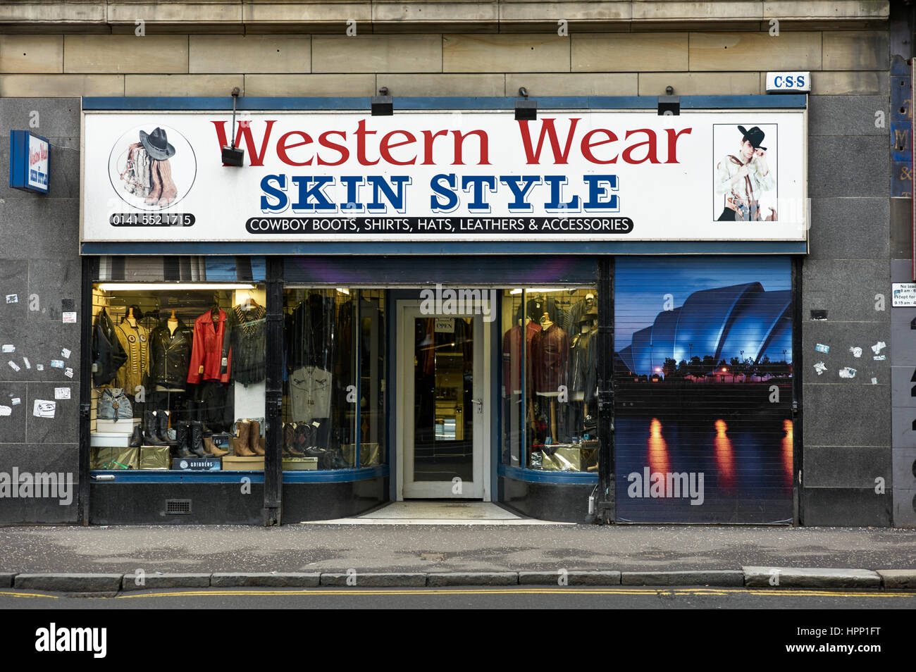 Glasgow country and western clothes shop Stock Photo