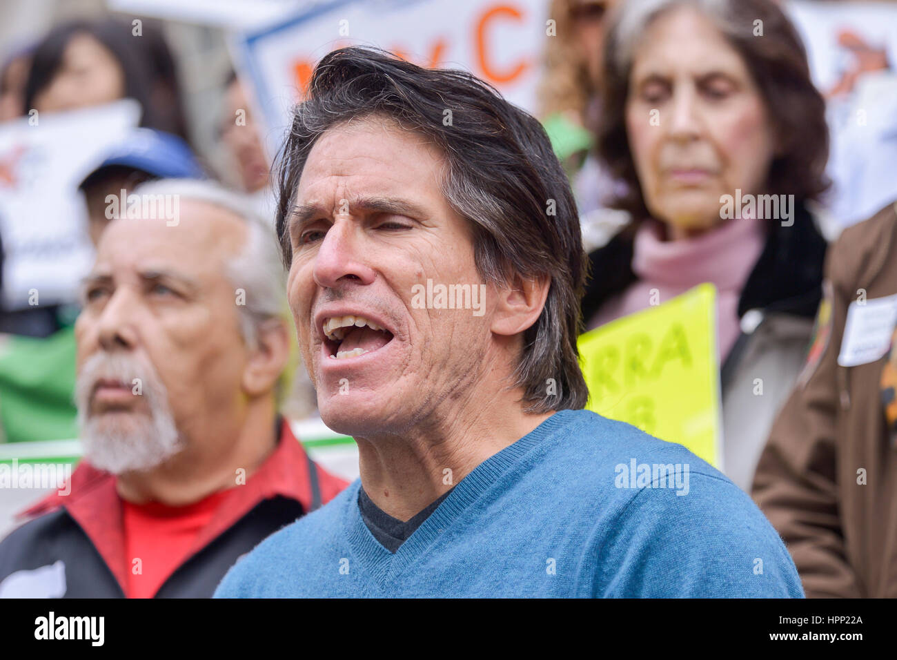 New York, United States. 23rd Feb, 2017. Rick Chavolla of the American Indian Communtiy House speaks at the rally. - Stock Image