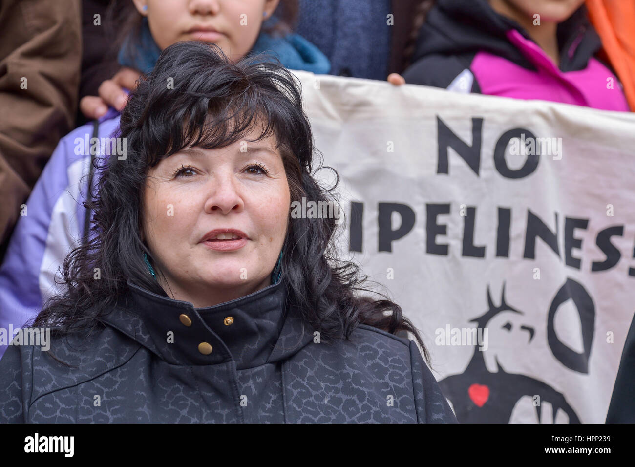 New York, United States. 23rd Feb, 2017. Betty Lyons of the Onondaga Nation speaks at the rally. Activists representing - Stock Image