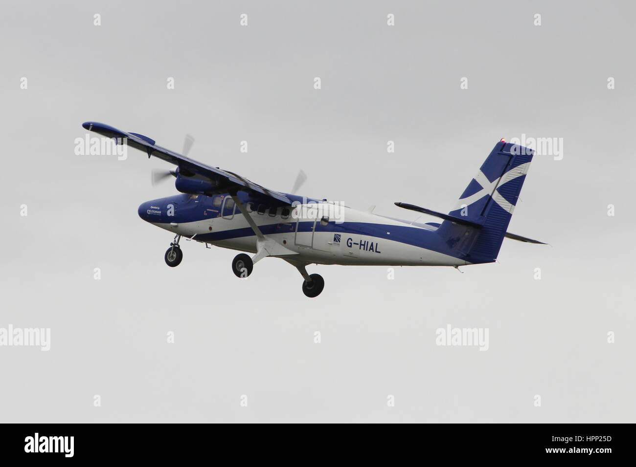G-HIAL, a de Havilland Canada (Viking Air) DHC-6-400 Twin Otter operated by Loganair on behalf of the Scottish Government, - Stock Image