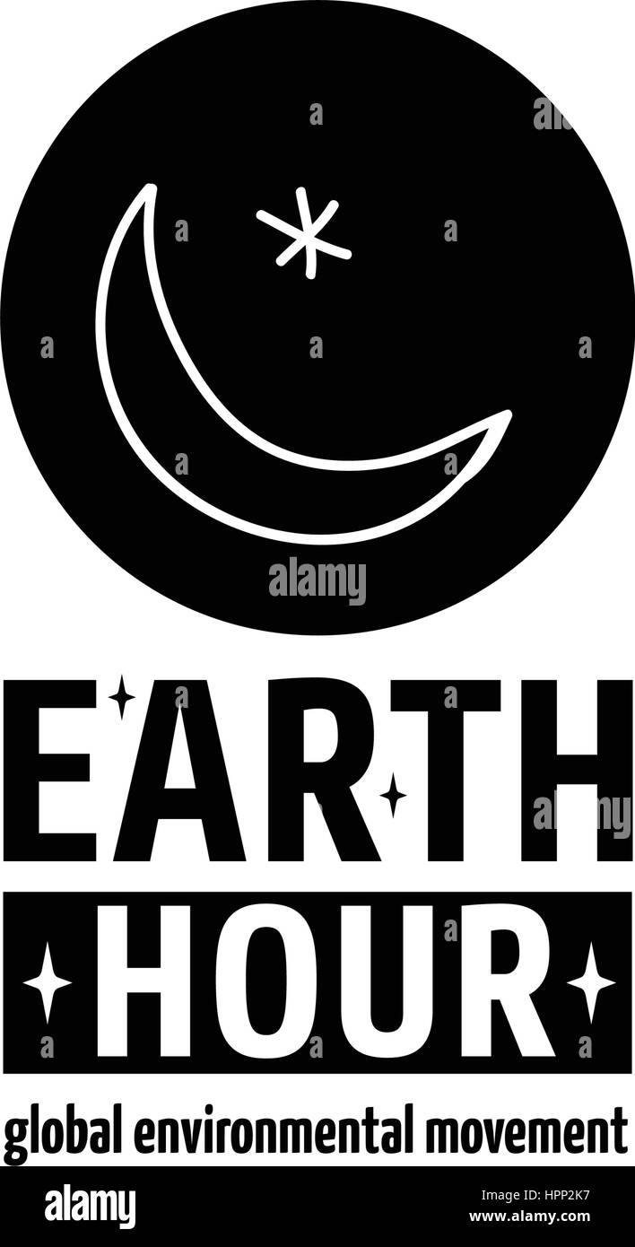 Earth Hour is a Global Environmental Movement. Vector icon with text, isolated on white. Concept of energy saving - Stock Vector