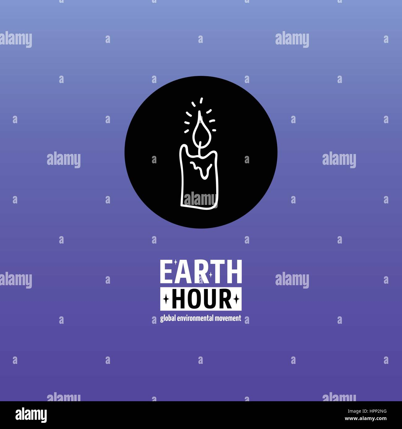 Earth Hour is a Global Environmental Movement. Vector icon with text. Concept of energy saving and changing climate - Stock Vector