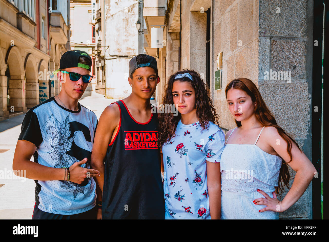 Street Portrait of Group of Young Friends - Stock Image