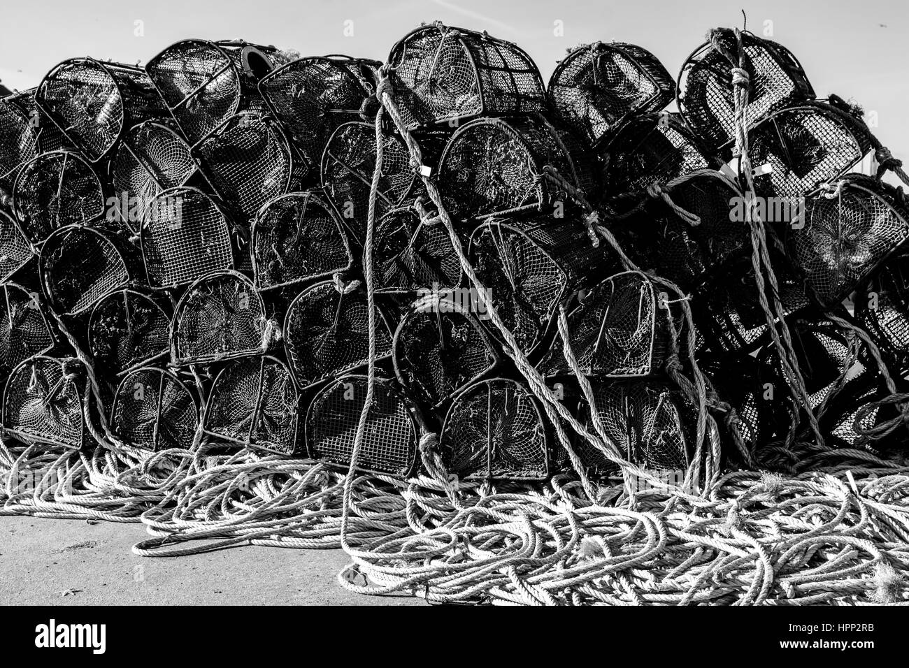View of Pile of Fishing traps, Crab Pots in Docklands - Stock Image