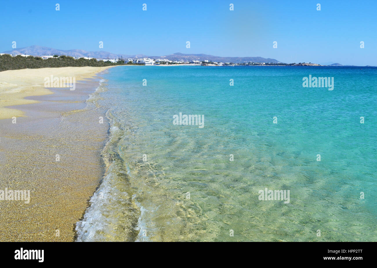landscape of Saint Prokopios beach Naxos Greece Stock Photo