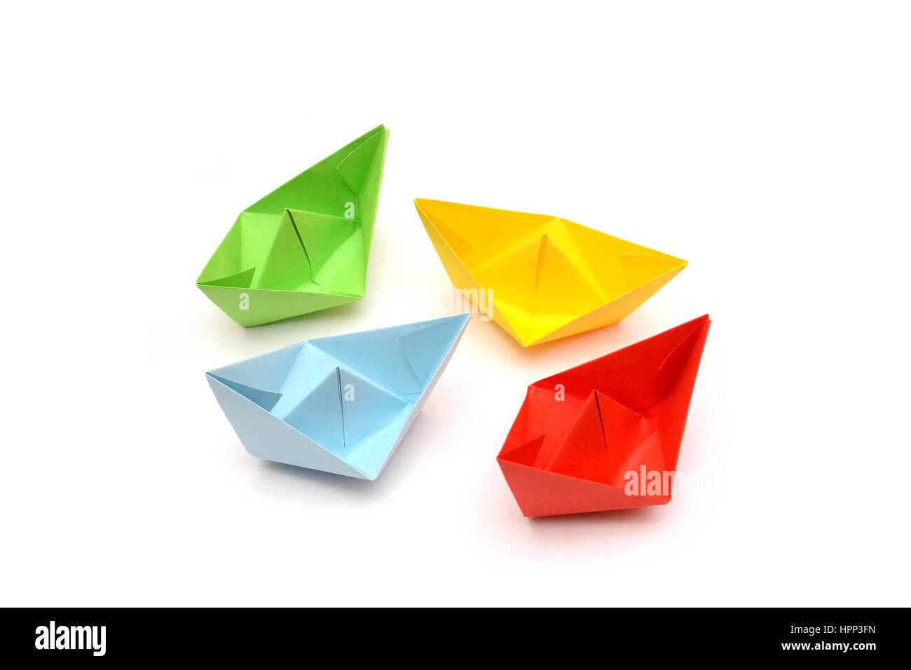 Green Paper Boat Isolated On Stock Photos Green Paper Boat