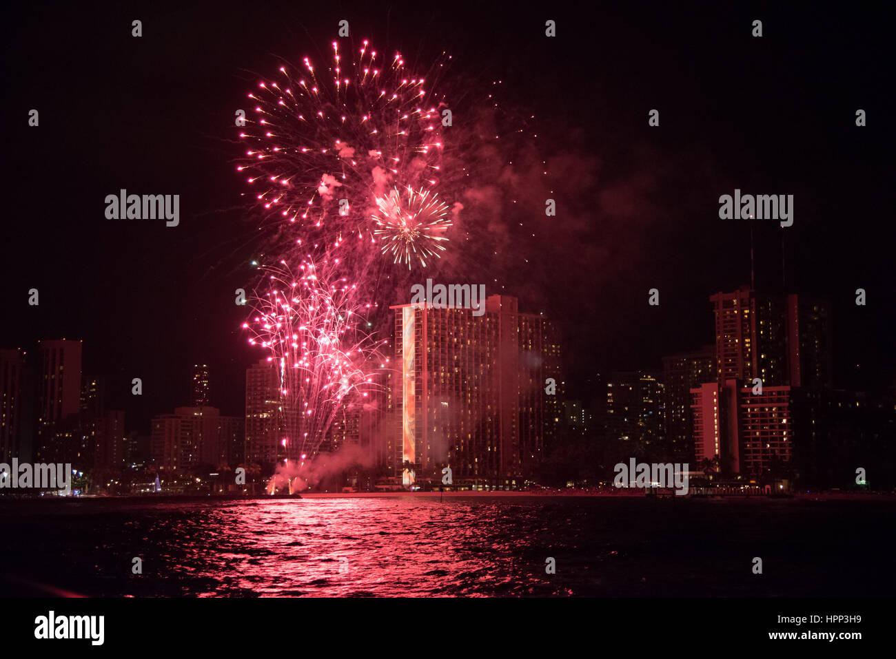Fireworks At The Waikiki Beach Oahu Hawaii Stock Photo Alamy