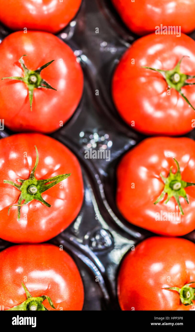 Macro closeup of beefsteak tomatoes in packaging - Stock Image