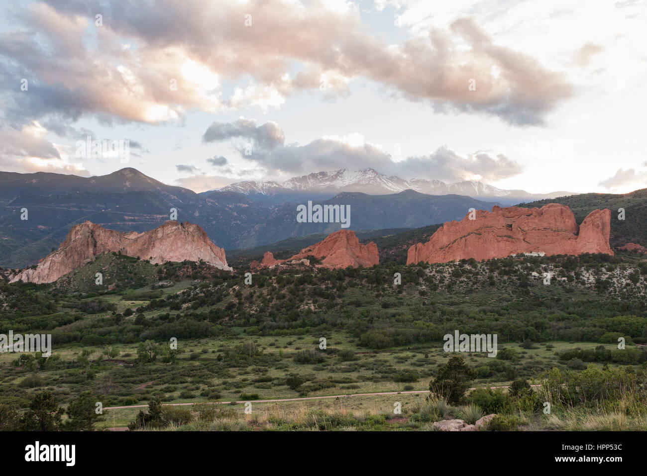 Sunrise at the Garden of the Gods in Colorado Springs - Stock Image