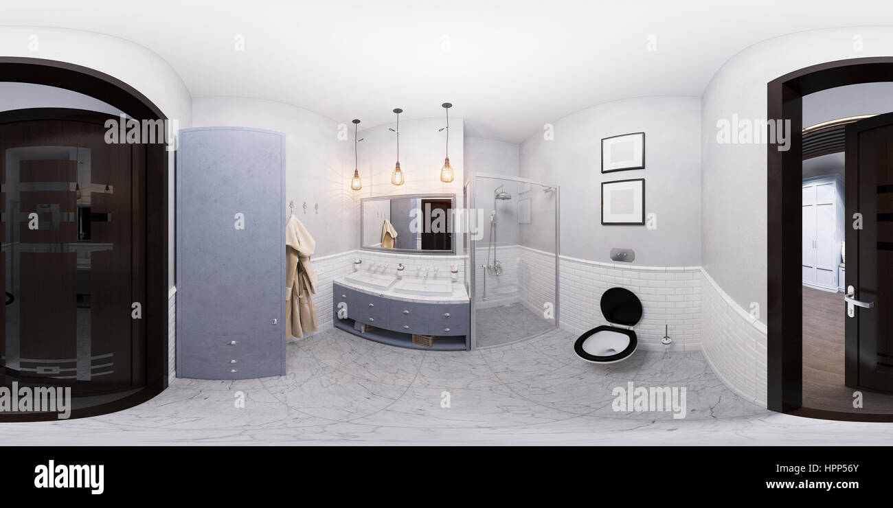 3D illustration of a bathroom interior design in classic style Stock ...