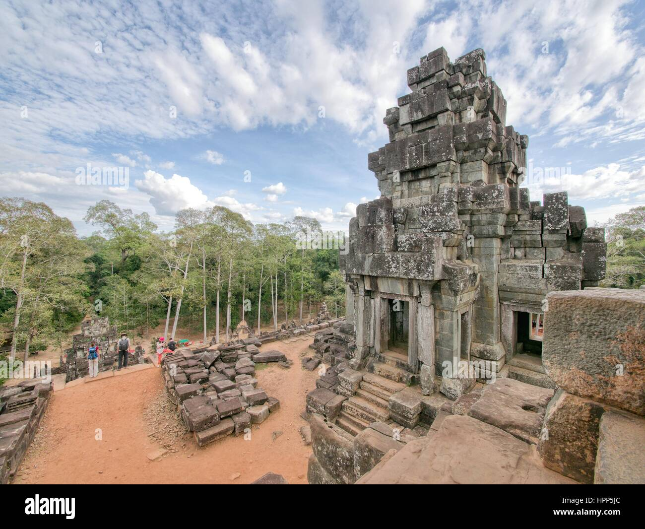 Temple ruins in Angkor Wat Siem Reap with blue sky clouds no people - Stock Image