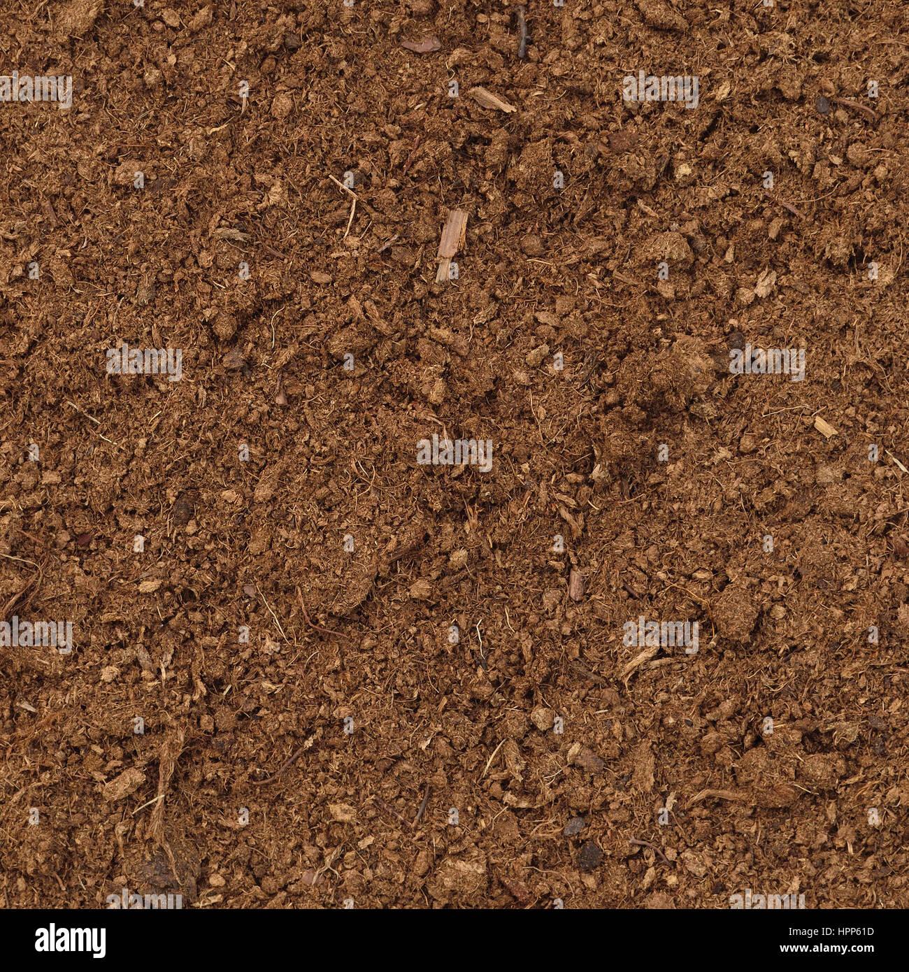 Peat Turf Macro Closeup, large detailed brown organic humus soil background pattern, vertical - Stock Image