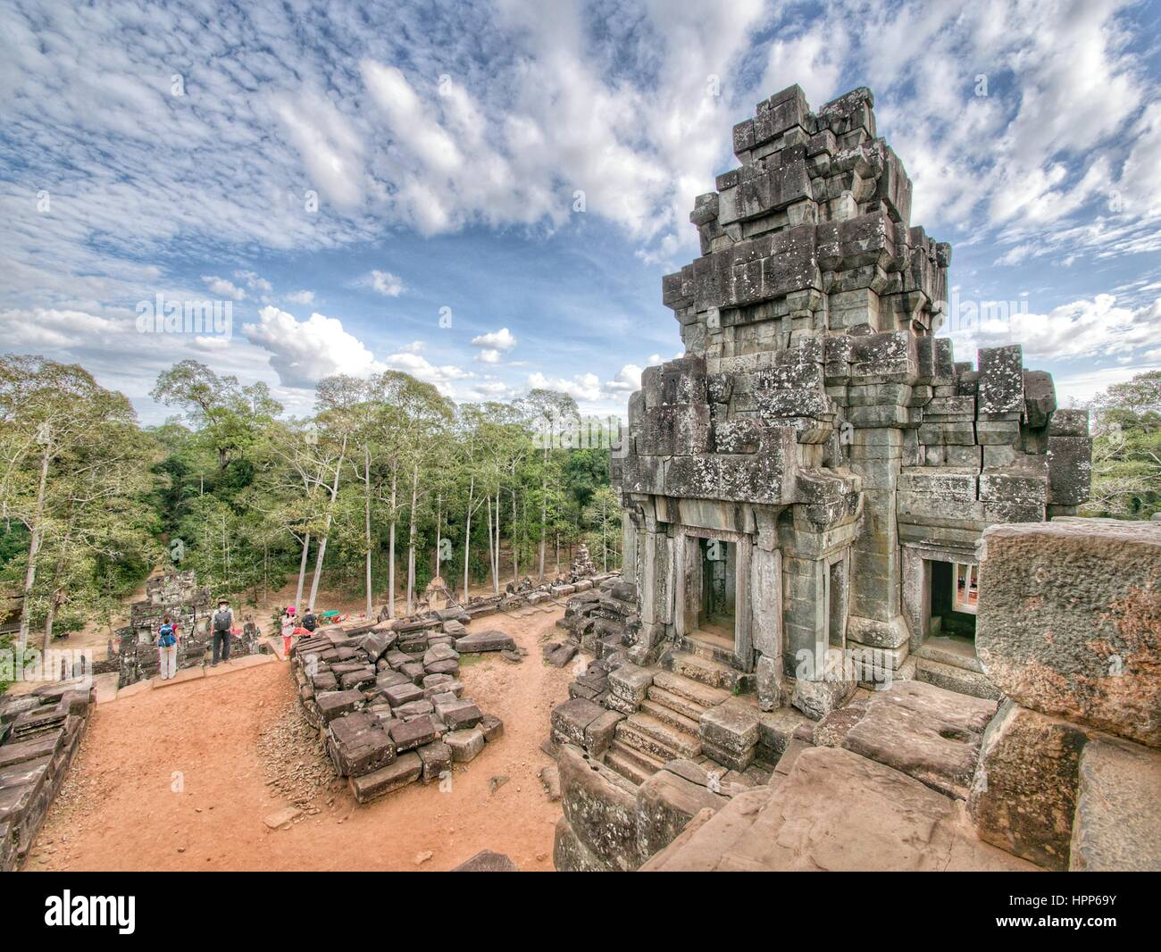Temple at angkor wat site - Stock Image