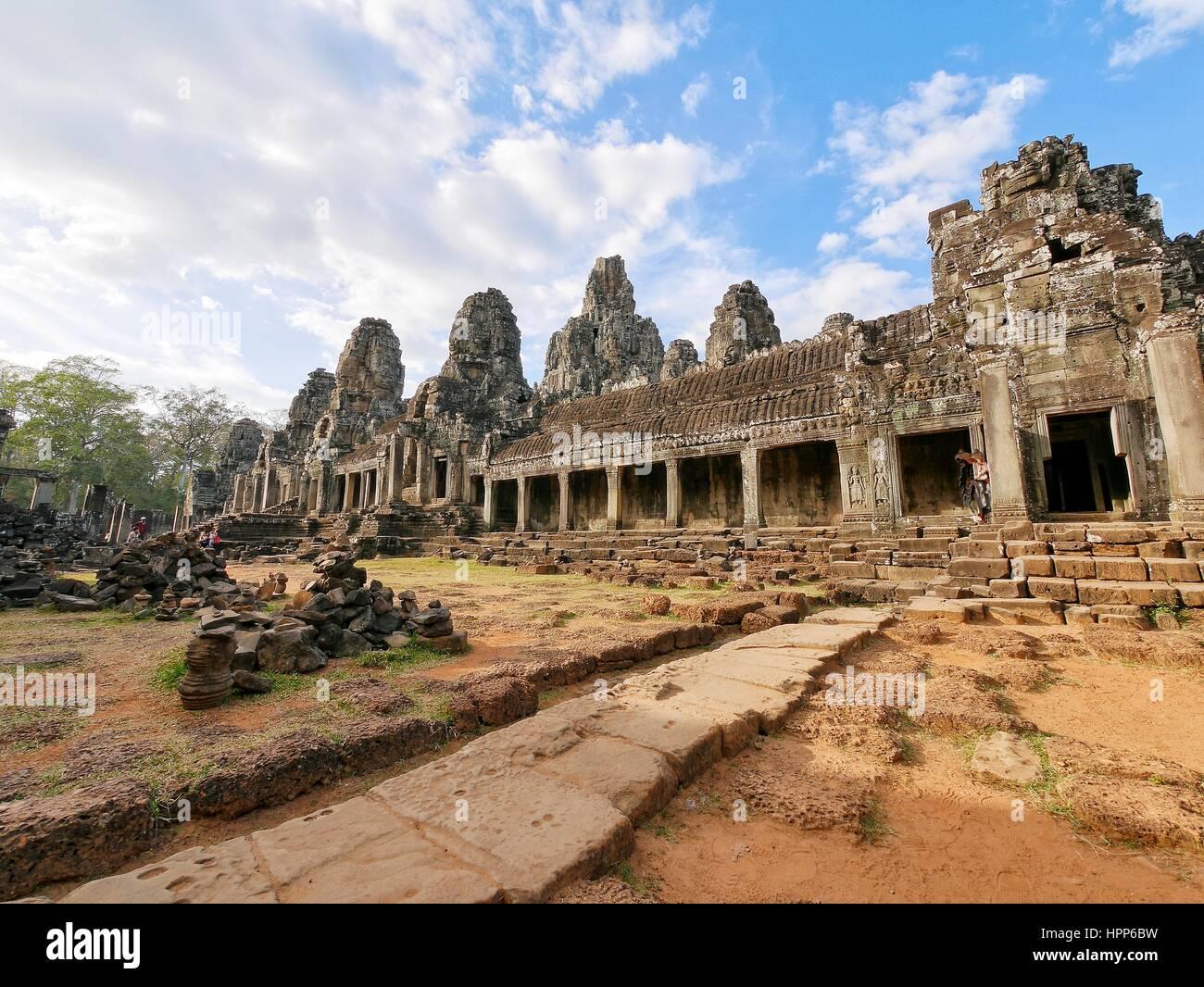 Temple bayon at angkor wat - Stock Image