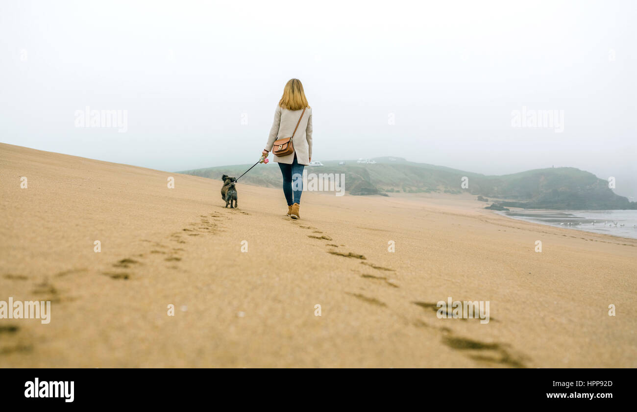 Woman walking with dog on the beach in winter - Stock Image