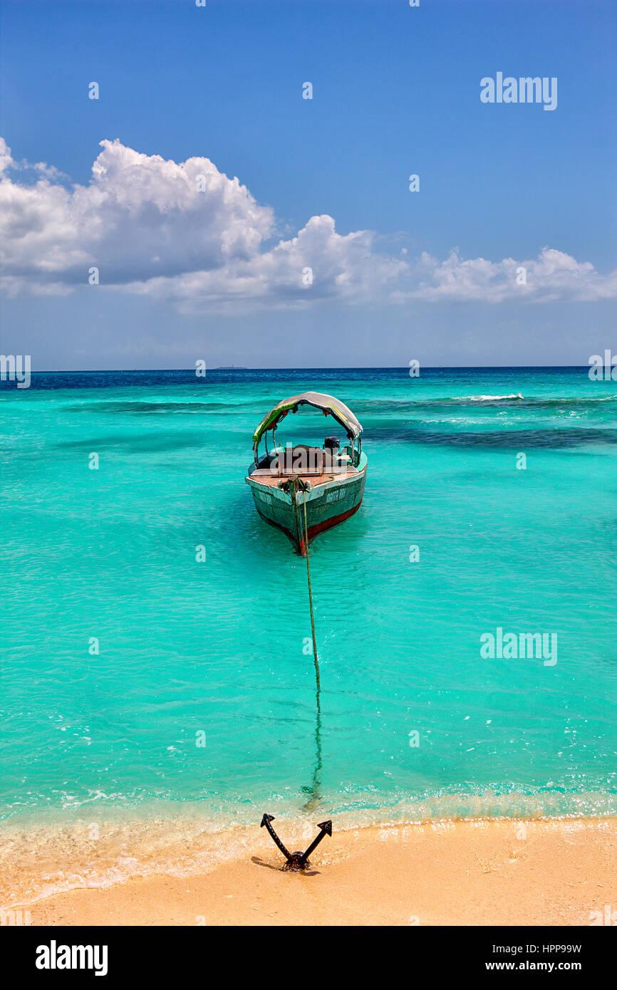 Tanzania, Zanzibar Island, Unguja, Niamembe Island, moored tour boat - Stock Image
