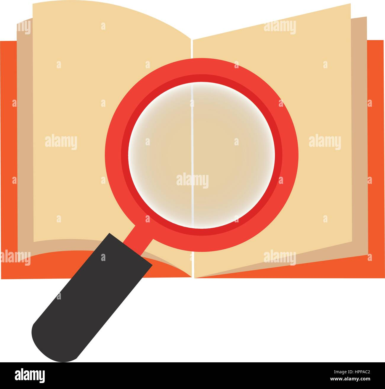textbook with magnifying glass library isolated icon Stock Vector