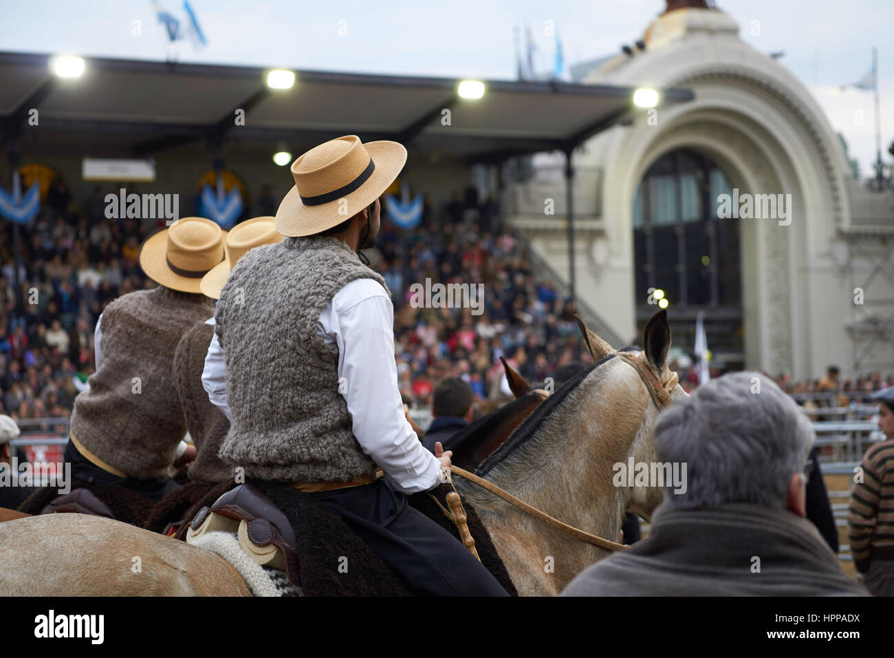 Argentinian gauchos and criollo horses at La Rural, Argentina's biggest agricultural and livestock show - Stock Image