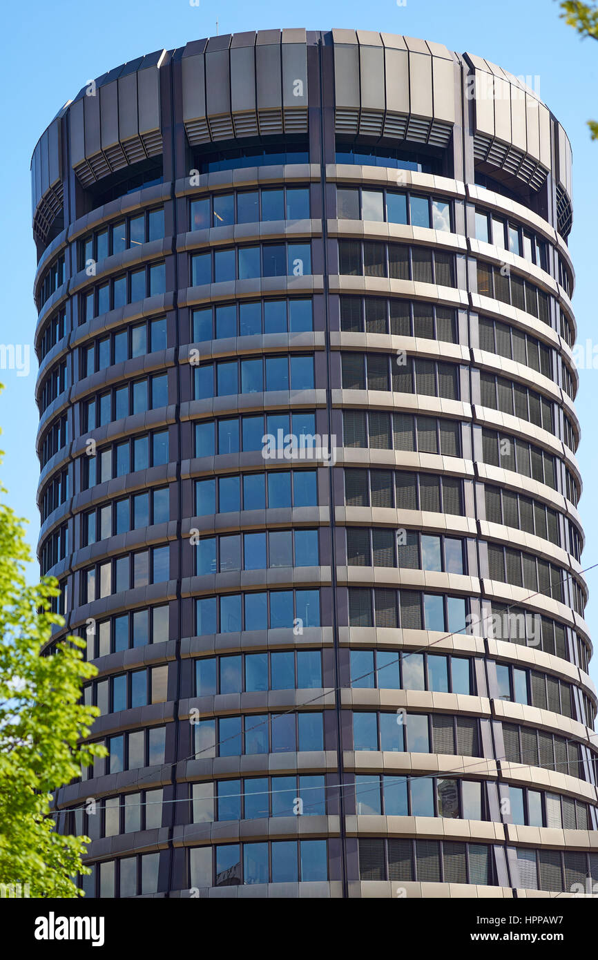 Bank for International Settlements BIS in Basel, the tower building of the international financial institution owned - Stock Image