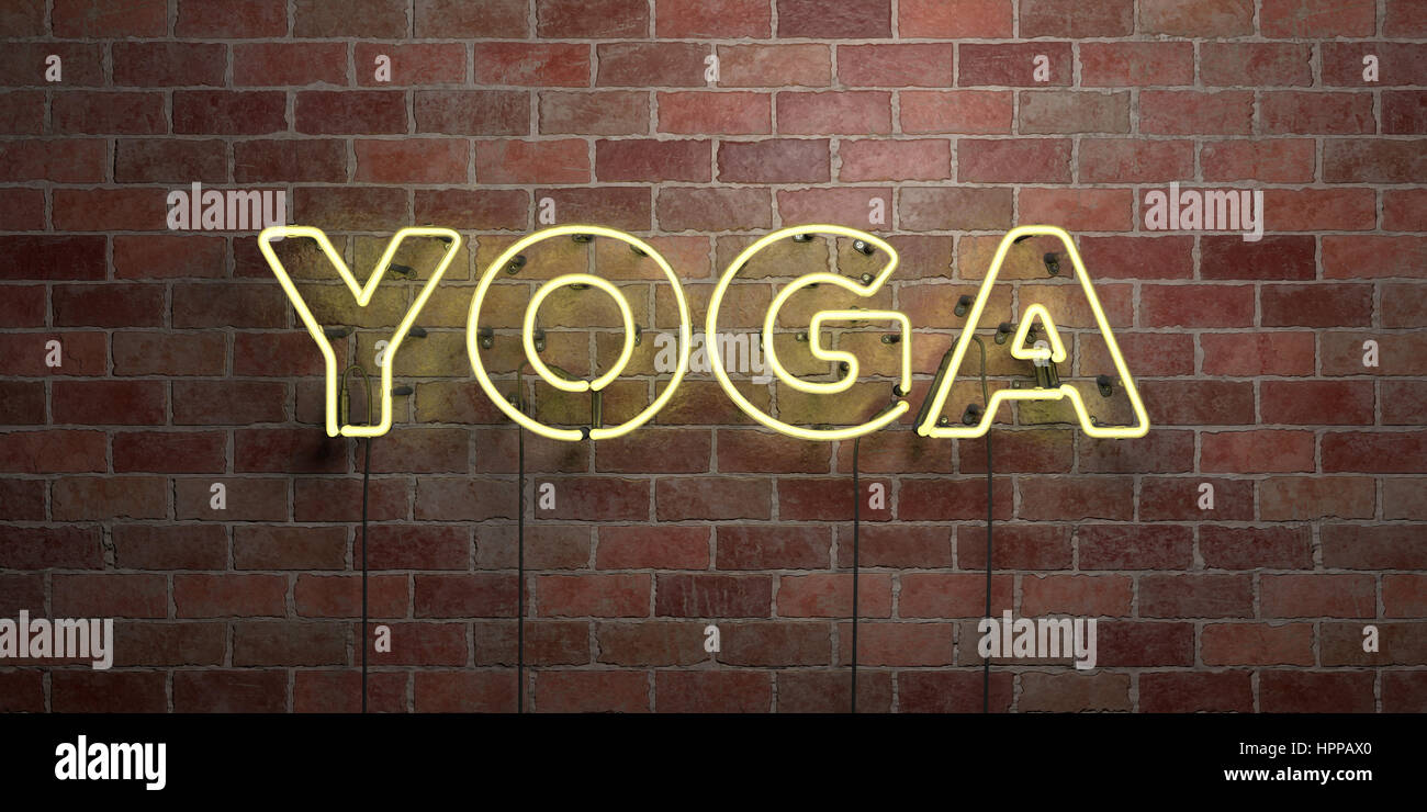 Yoga Fluorescent Neon Tube Sign On Brickwork Front View 3d Stock Photo Alamy