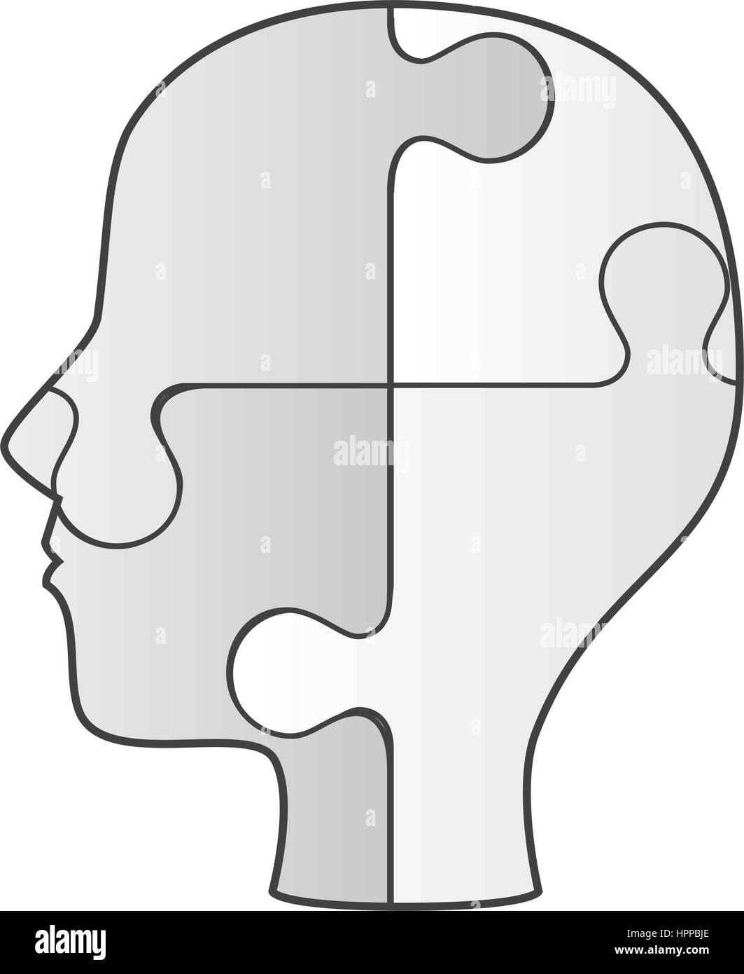 profile human with puzzle game pieces isolated icon Stock Vector