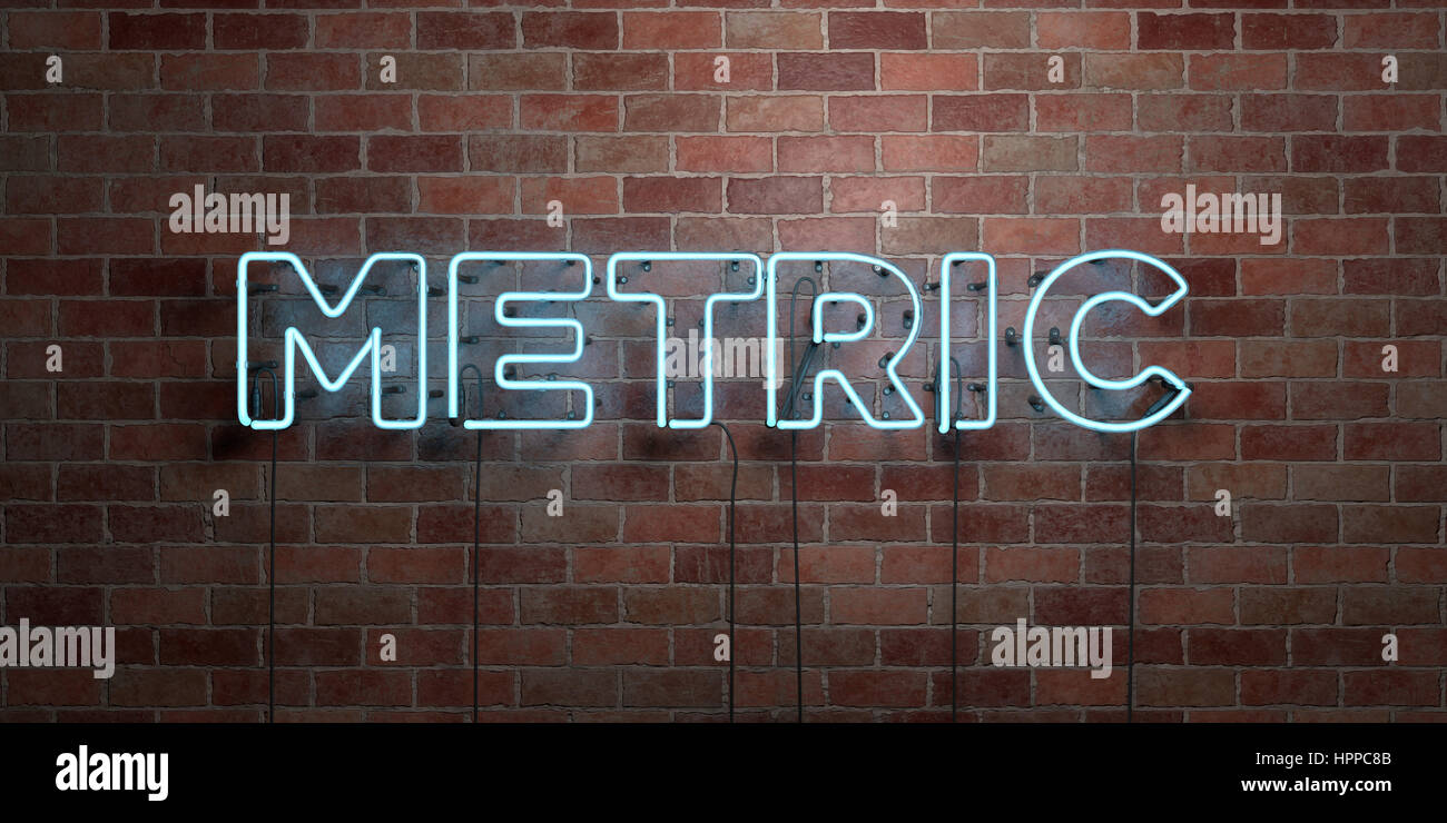 METRIC - fluorescent Neon tube Sign on brickwork - Front view - 3D rendered royalty free stock picture. Can be used - Stock Image