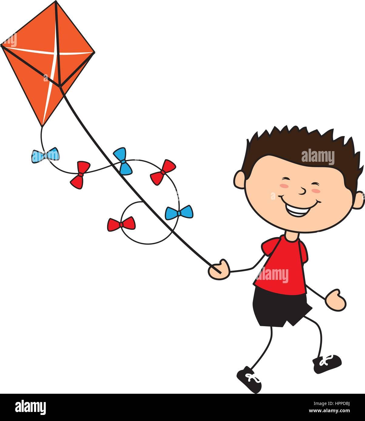 cute boy flying kite avatar character Stock Vector