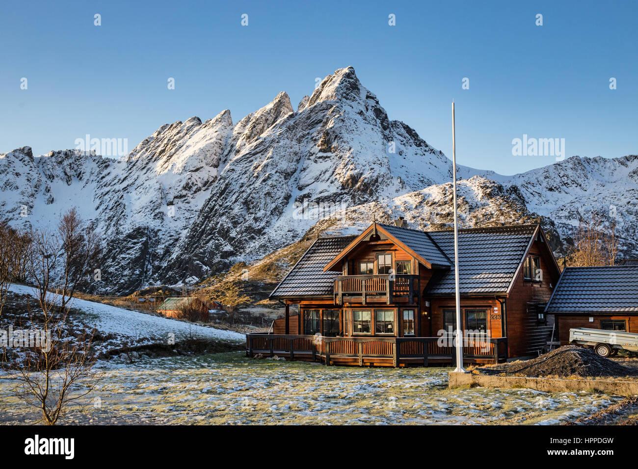 traditional wooden house, Ballstad, Lofoten Islands, Norway, Europe - Stock Image