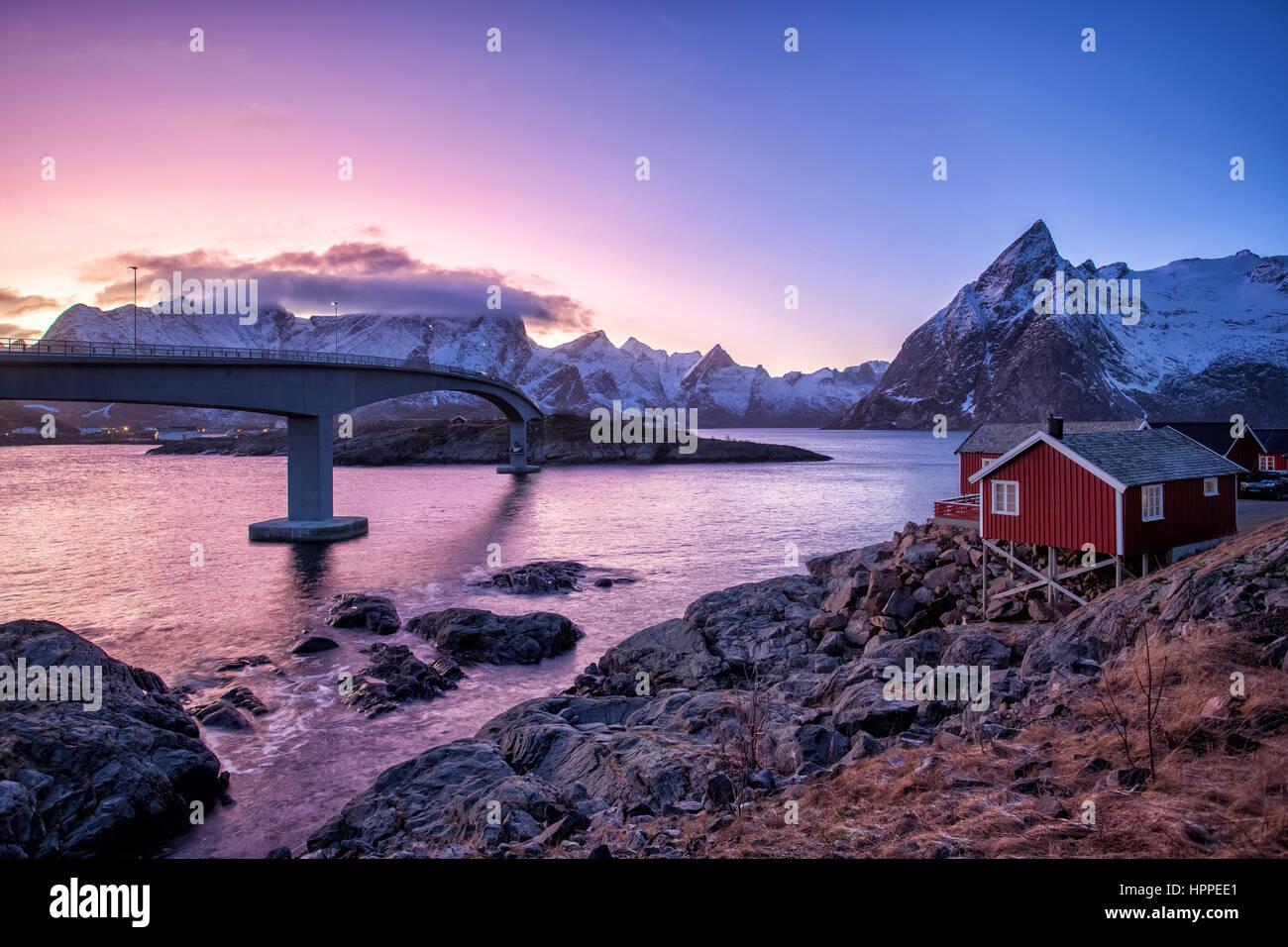 Hamnoy village, Lofoten Islands, Norway, Europe - Stock Image