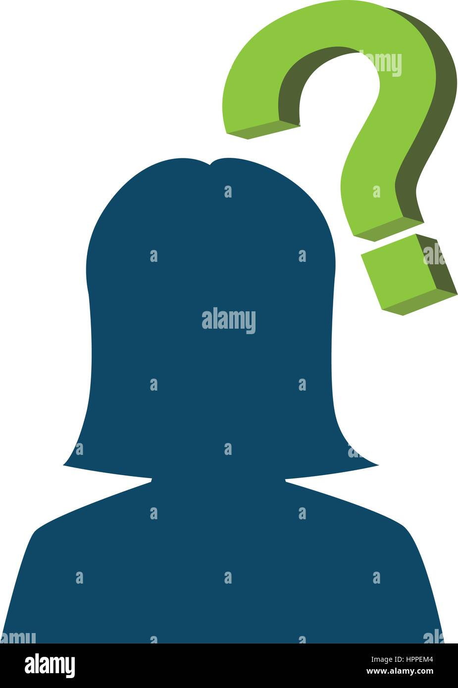 person silhouette with question mark - Stock Image