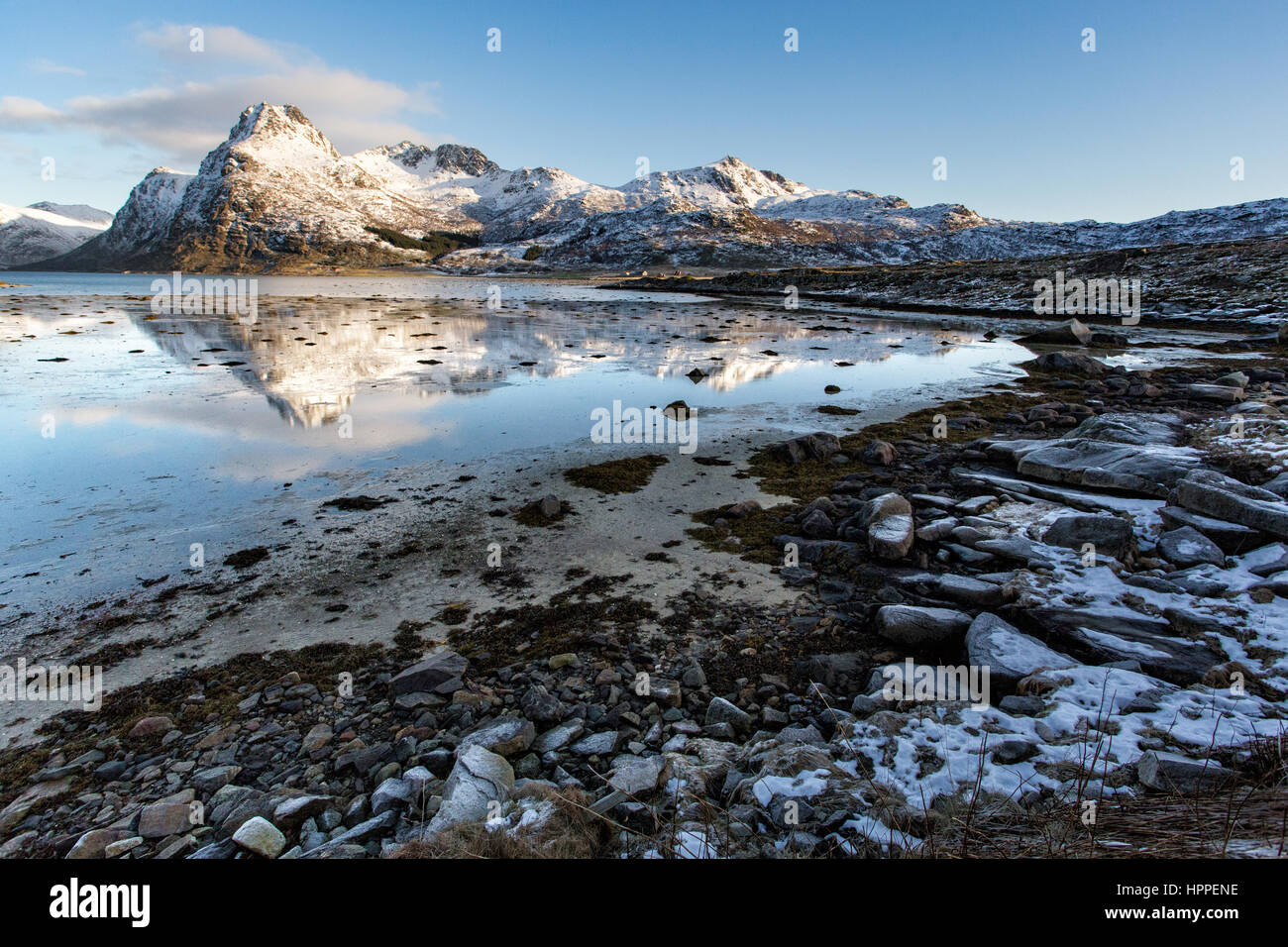 Flakstadoya seaside, Lofoten Islands, Norway, Europe - Stock Image