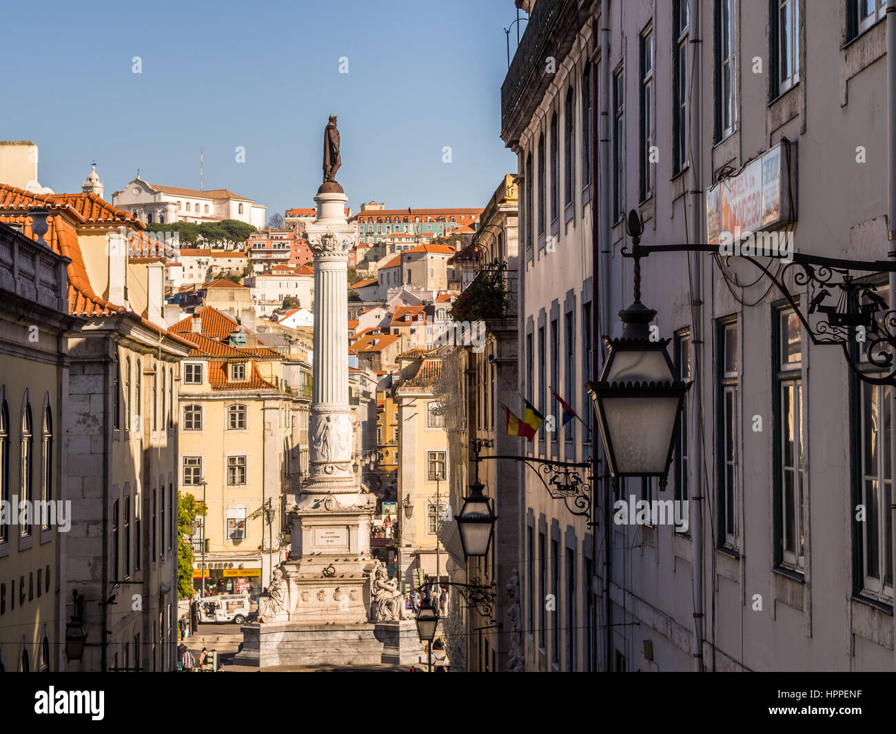 LISBON, PORTUGAL - JANUARY 10, 2017: Column of Pedro IV on Rossio Square (Pedro IV Square) in Lisbon, Portugal, - Stock Image