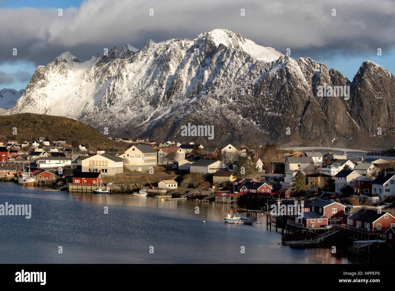 Reine town, winter, Lofoten Islands, Norway, Scandinavia, Europe - Stock Image