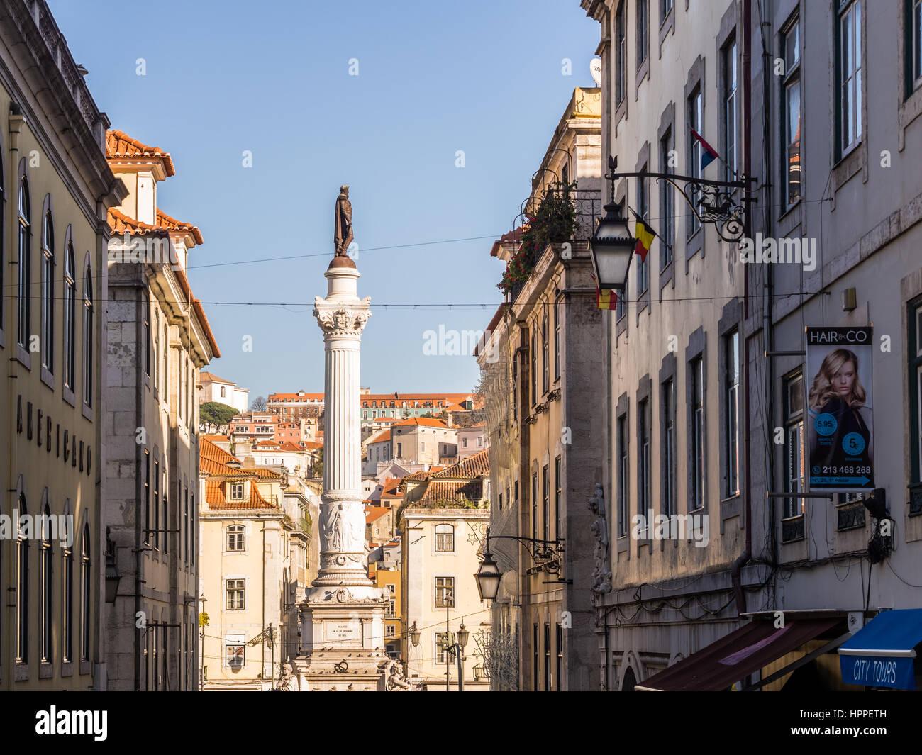 LISBON, PORTUGAL - JANUARY 10, 2017: Column of Pedro IV on Rossio Square (Pedro IV Square) in Lisbon, Portugal, Stock Photo