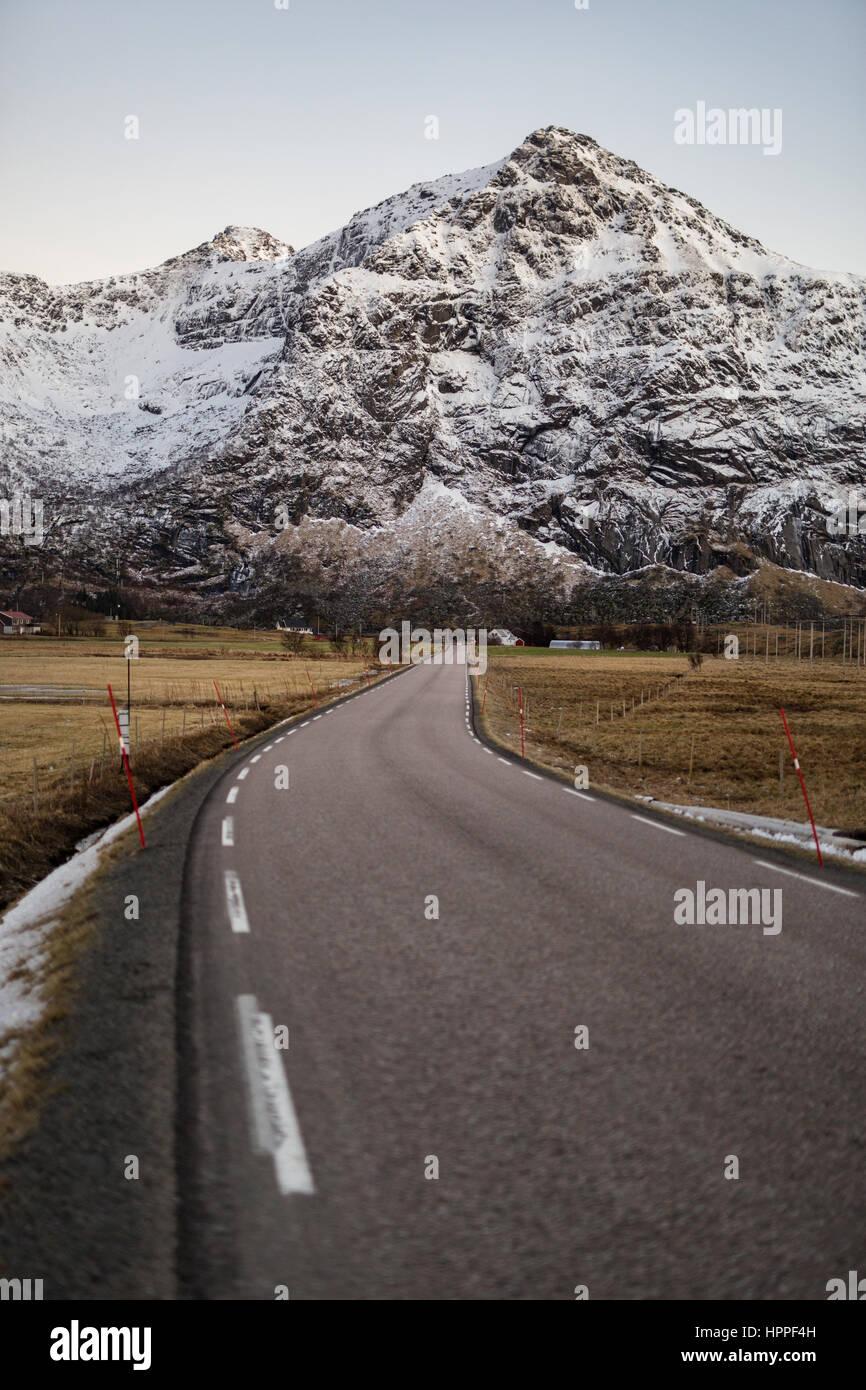 E10 road, Flakstadøya Island, Lofoten Islands, Norway - Stock Image