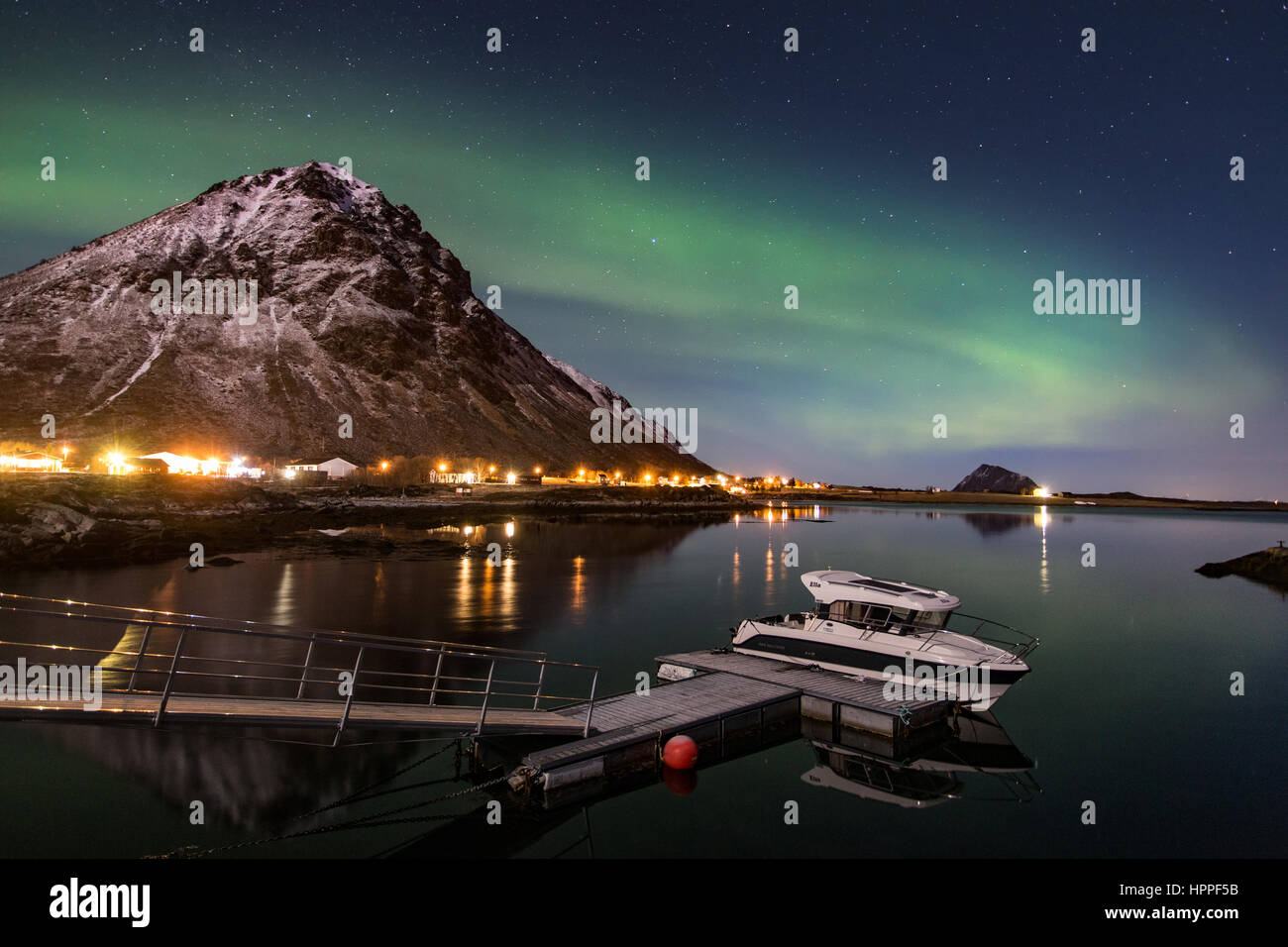 aurora borealis over Lofoten Islands, Norway, Europe Stock Photo