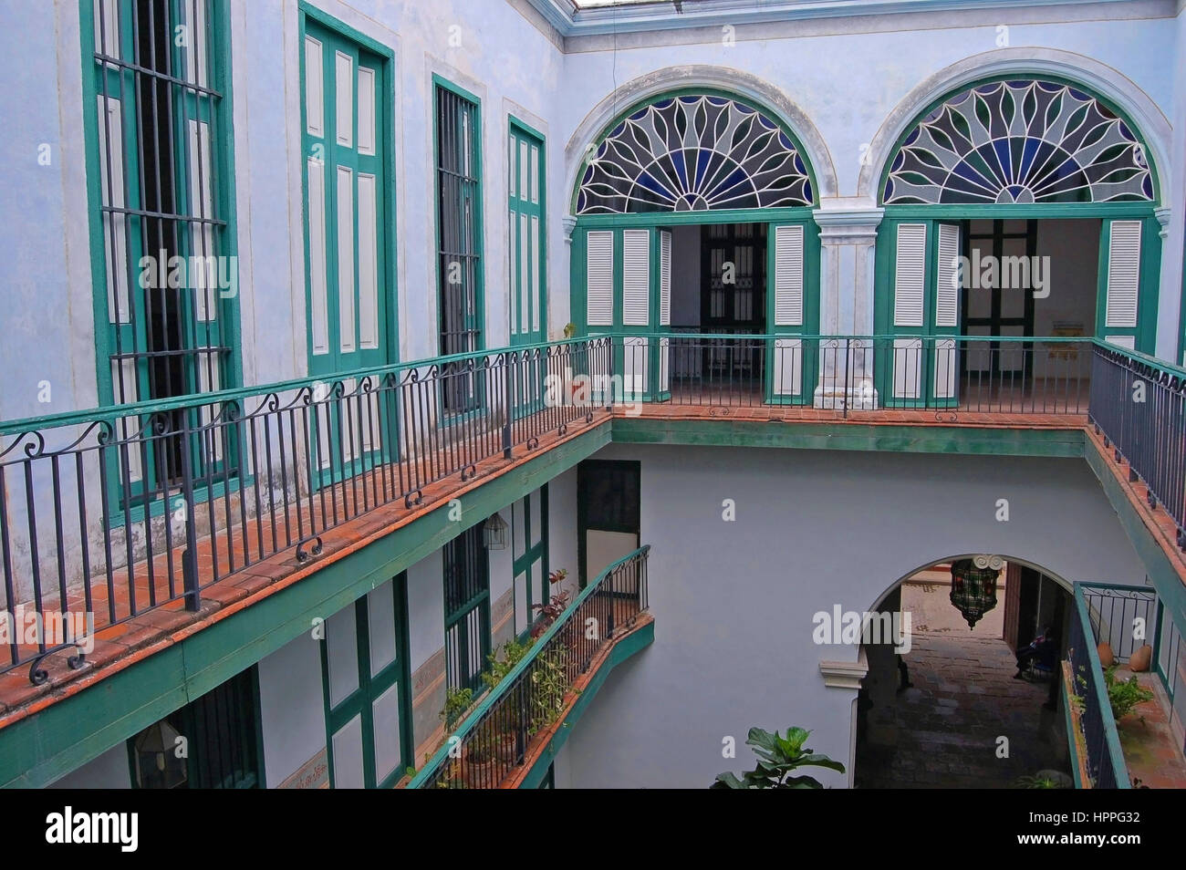 Casa de los Arabes.  Upper Two stories overlooking the Interior Patio, Havana, Cuba - Stock Image