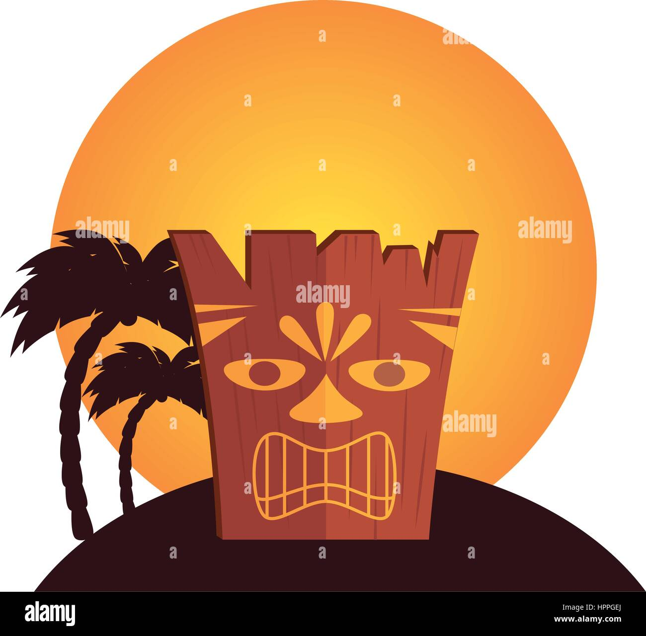 hawaii totem culture icon - Stock Vector