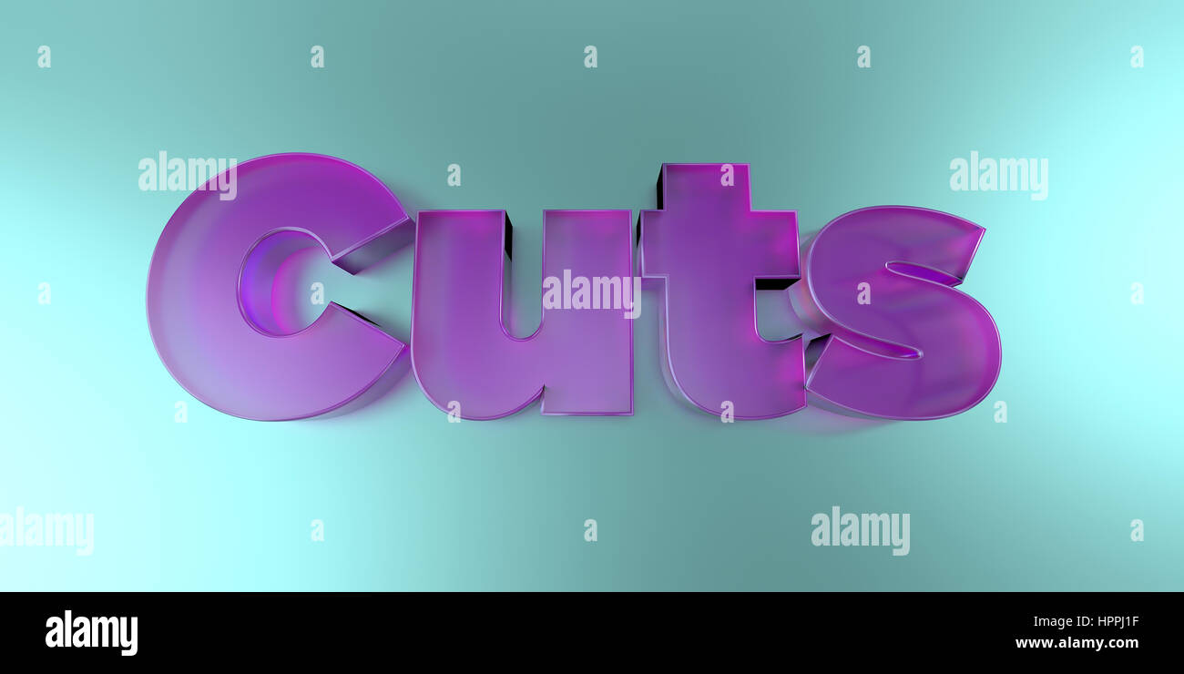 Cuts - colorful glass text on vibrant background - 3D rendered royalty free stock image. - Stock Image