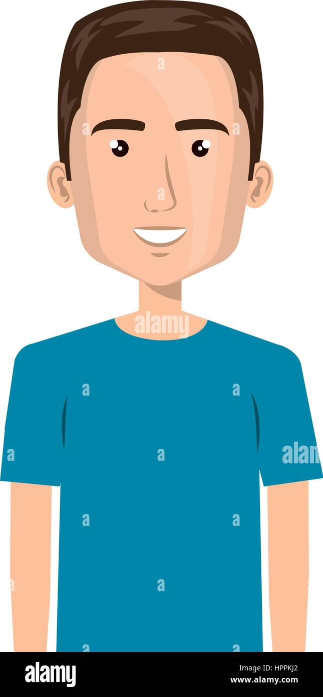 half body cartoon man with hairstyle - Stock Image