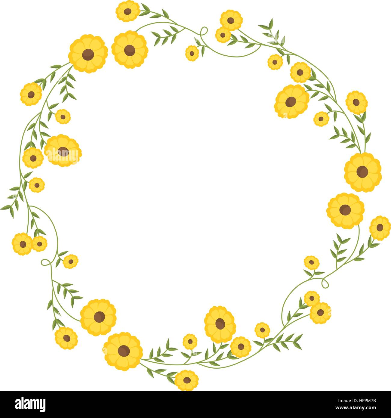 Floral Circular Wreath Decoration With Yellow Flowers Stock