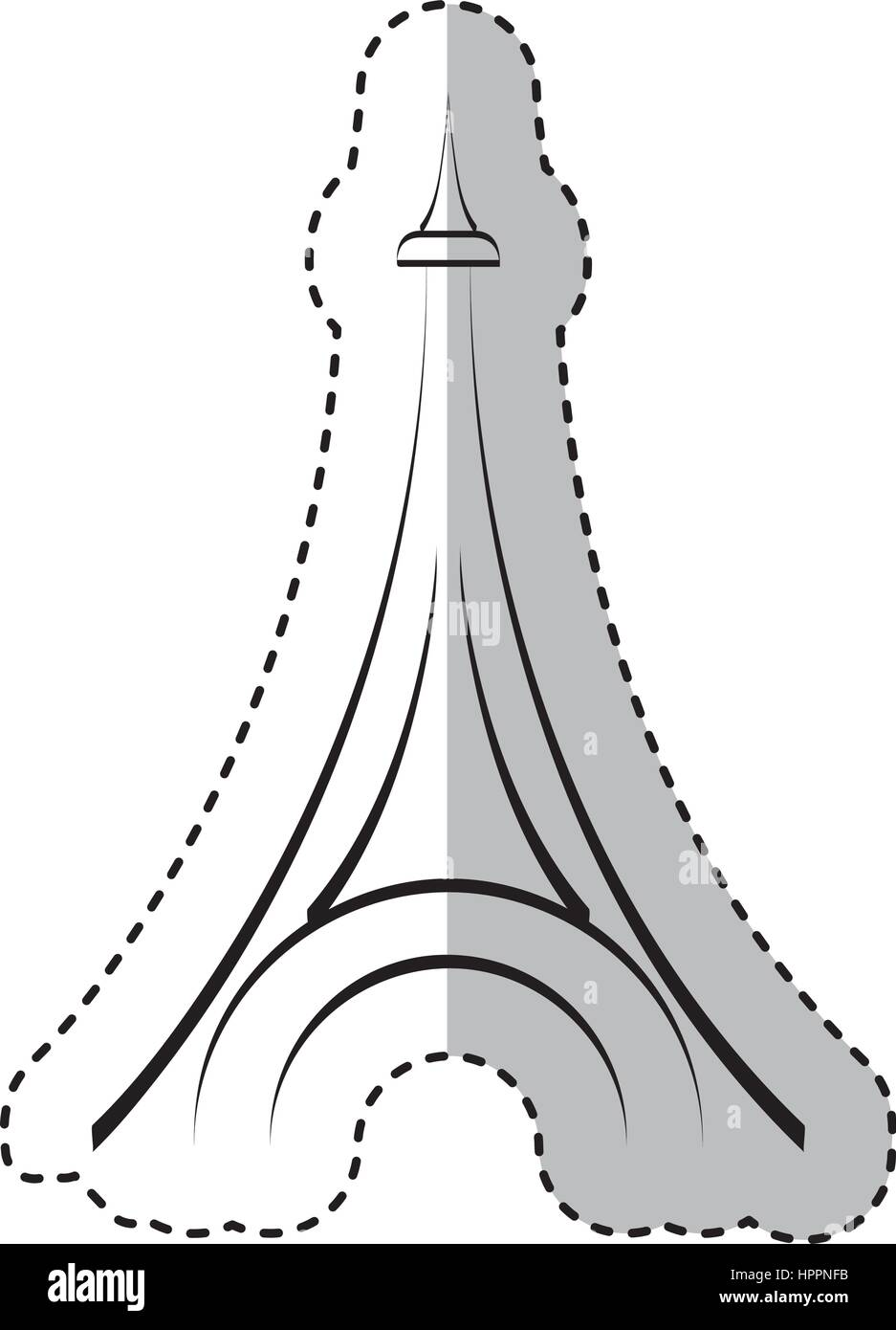 eiffel tower isolated icon - Stock Vector
